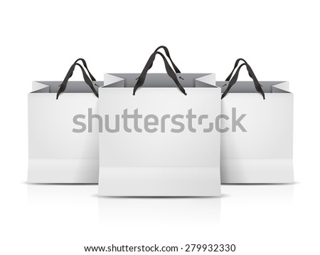 white shopping bags set isolated on white