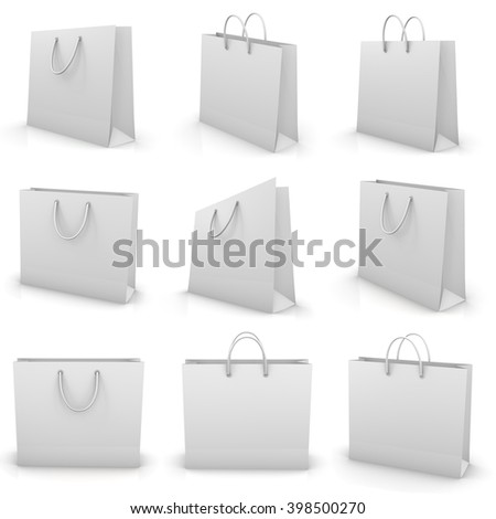 white shopping paper bag isolated on white background, illustration, 3d rendering