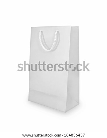 White shopping paper bag isolated on white with shadow