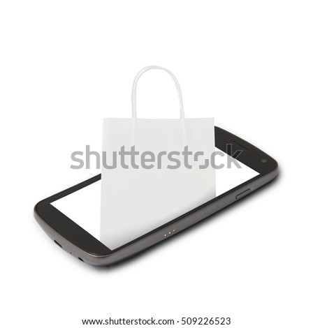 White shopping paper bag on smartphone