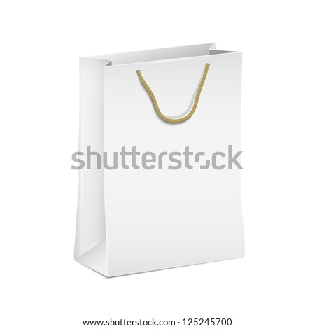 White shopping paper bag. Raster version