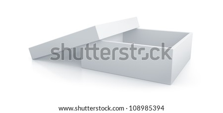 White short box. High resolution 3D illustration with clipping paths.