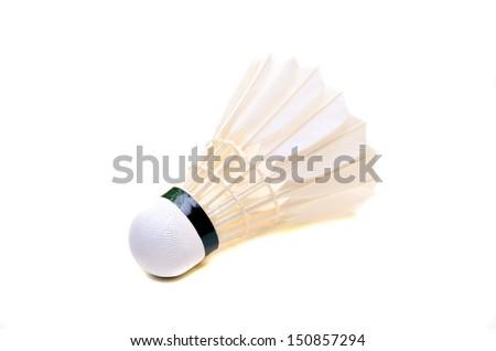 White shuttlecock isolated on white background - stock photo