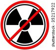 White sign against radiation on white background. - stock photo