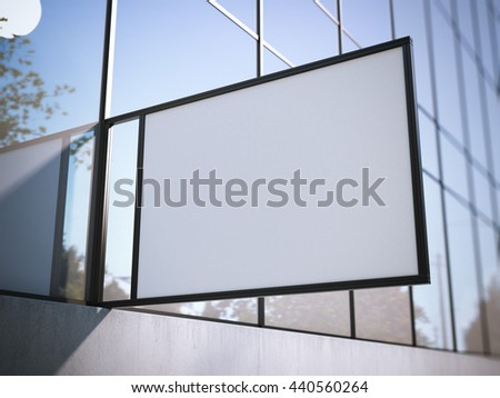 White signboard on the modern office building. 3d rendering