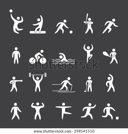 White silhouette figures of athletes popular sports. Running, cricket, golf, fitness, bodybuilding, dance, yoga, soccer and other