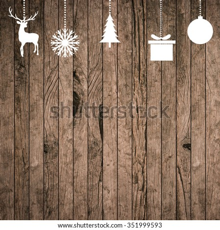 white silhouette hand draw symbolic xmas on grunge wood striped panel background for banner,design,decorate:merry Christmas festival and new year wallpaper concept.reindeer,tree,snowflakes,gift,ball