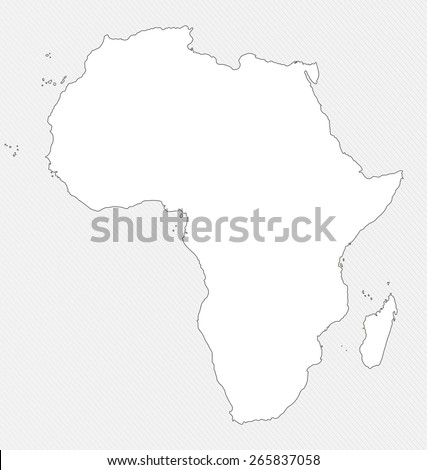White silhouette map of Africa on gray background - stock photo