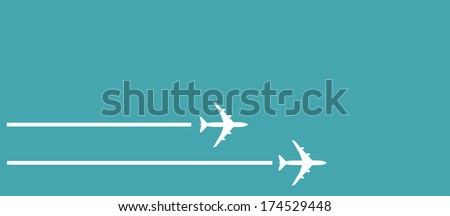 white silhouettes of jet airplanes - stock photo
