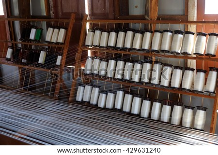 White silk thread on the weaving tool, Inle lake, Myanmar (Burma)