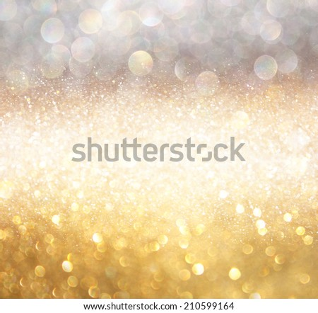 white silver and gold abstract bokeh lights. defocused background  - stock photo