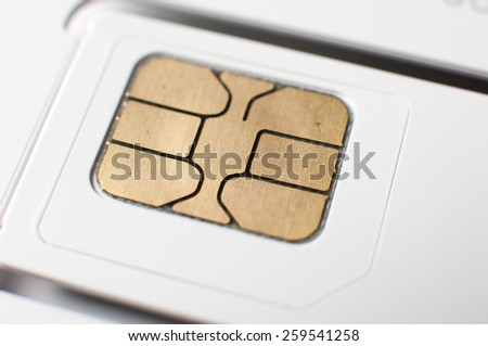 White sim card for mobile phone. - stock photo