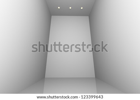 White simple empty room interior with three downlight