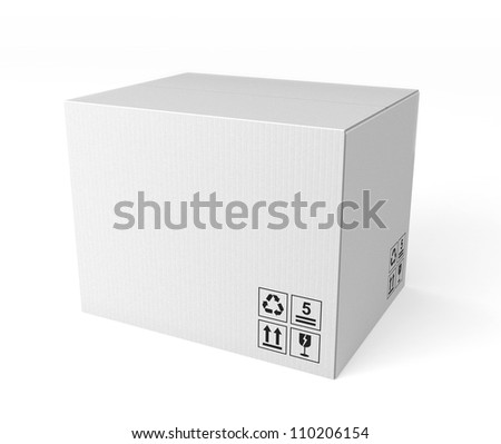 white single cardboard box - stock photo