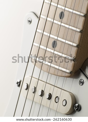 White single coil guitar close up, for music,entertainment themes - stock photo