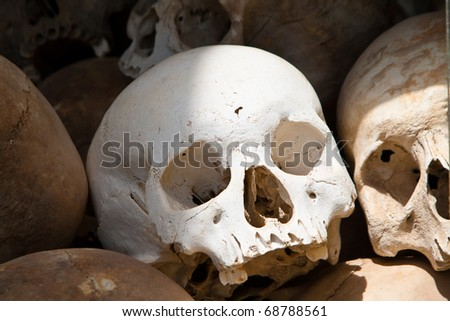 White skull from a mass grave of Khmer Rouge victims in Choeung Ek (The Killing Fields) in Phnom Penh, Cambodia.