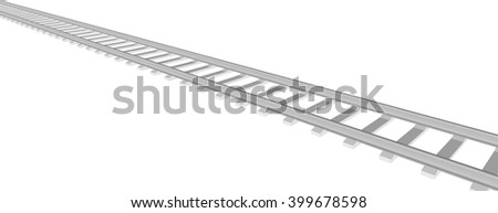 White sleepers and rails on a white background 4