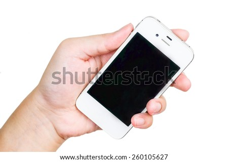 White smart phone in hand, business communication background