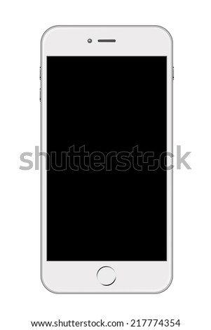 White Smartphone Isolated on White Background - stock photo
