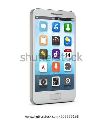white smartphone with apps on the screen isolated white background include clipping path - stock photo