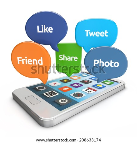 white smartphone with social media bubbles (like, tweet, friend, share, photo) isolated white background - stock photo