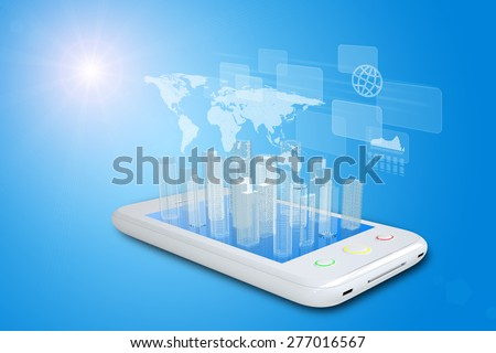 White smartphone with virtual cityscape on blue background