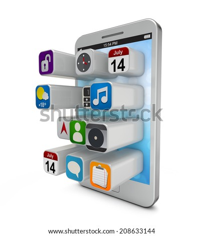 white smartphonew with extruding app icons on the screen isolated white background include clipping path - stock photo