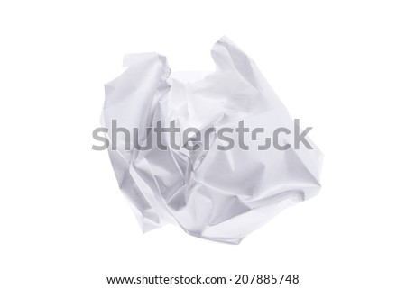 White Smashed Paper Ball Concept With Clipping Path