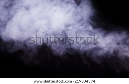 White smoke cloud isolated on black background - stock photo
