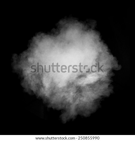 White smoke isolated on black background - stock photo