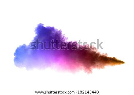 White smoke on black background. Isolated. - stock photo