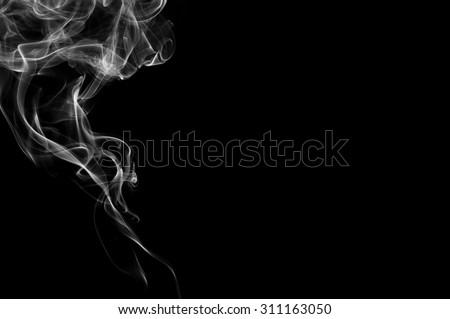 white smoke on black background, white smoke on black background, smoke background,white ink background,smoke background ,beautiful white smoke,B&W, Movement of smoke - stock photo