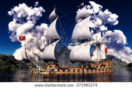 White smoke over ancient ship - stock photo