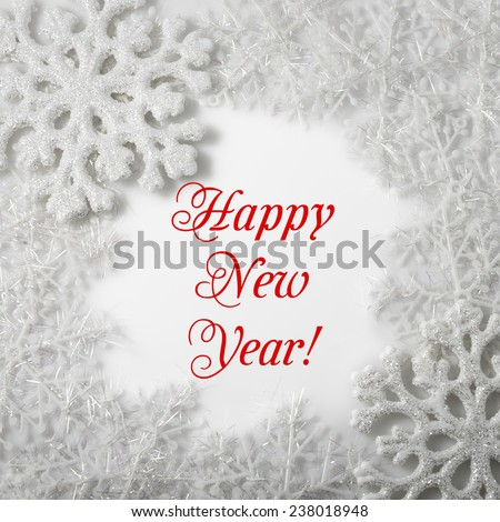 White Snowflake on a white background. Winter symbol. Happy New Year 2015! Greeting card. Christmas decoration. - stock photo