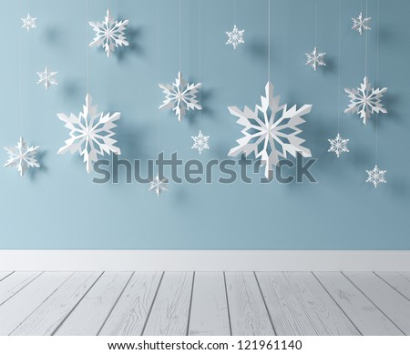 white snowflakes in blue room - stock photo