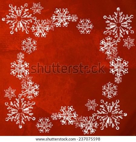 White snowflakes isolated on luxurious red background