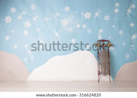 white snowflakes on blue background set - stock photo