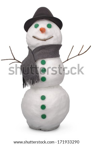 White snowman  whith scarf and felt hat. On white background. Clipping path.  - stock photo