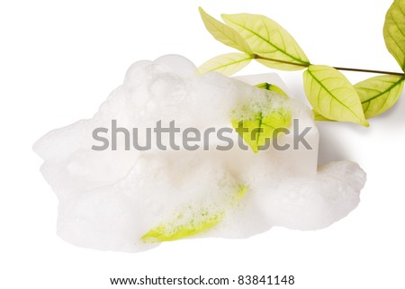white soap and leaf on white with clipping paths - stock photo