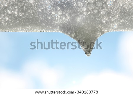 white soap bubble and the drop in the morning sunshine #2 - stock photo