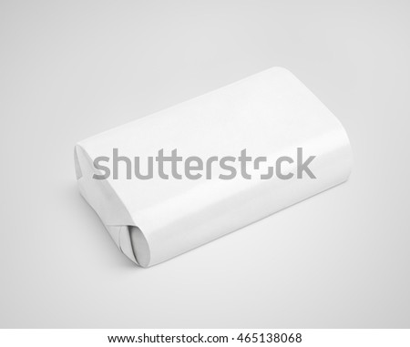 White soap wrap box package on gray background with clipping path