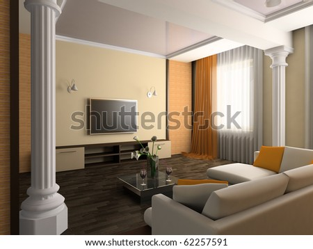 White sofa in a drawing room 3d image