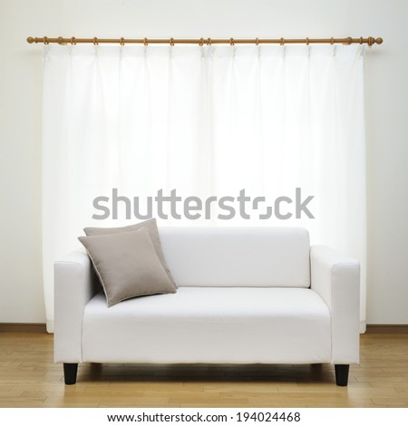 white sofa in room - stock photo