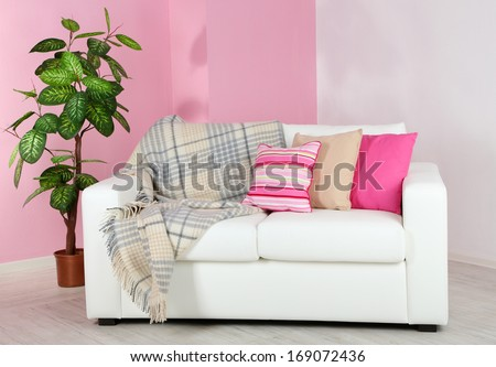 White Sofa Room On Pink Wall Stock Photo 169072436 - Shutterstock