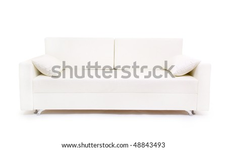 white sofa isolated on white background - stock photo