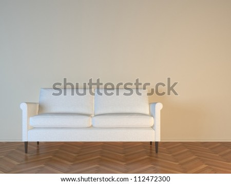White sofa on parquet floor - stock photo