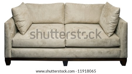 White sofa, suede upholstery, isolated