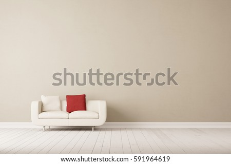 White Sofa With Two Pillows In Empty Room Front Of Wall 3D Rendering