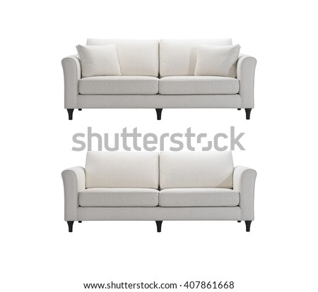 white sofas isolated with clipping mask