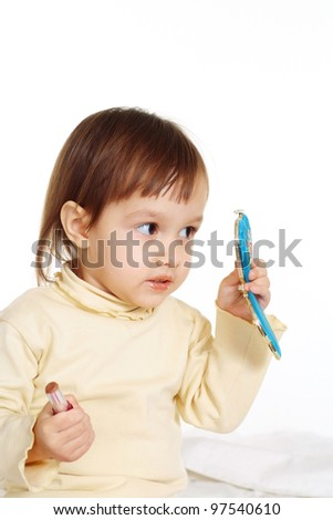 white soft kid at the white background